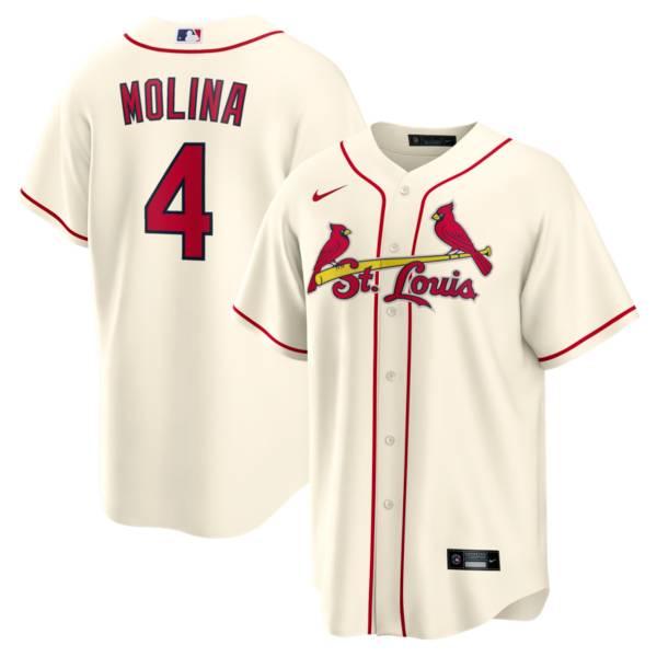 Nike Men's St. Louis Cardinals Yadier Molina #4 Cream Cool Base Alternate Jersey product image
