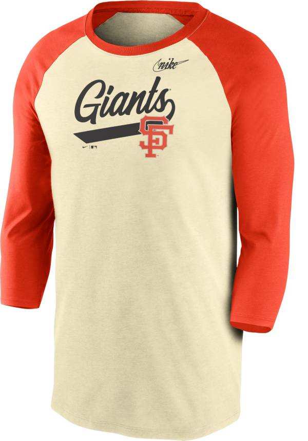 Nike Men's San Francisco Giants Cream Cooperstown Raglan Three-Quarter Sleeve Shirt product image