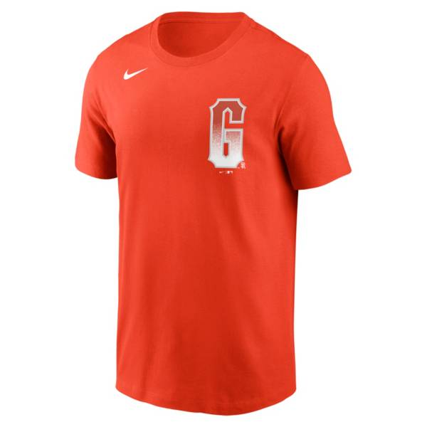 Nike Men's San Francisco Giants Orange 2021 City Connect Wordmark T-Shirt product image
