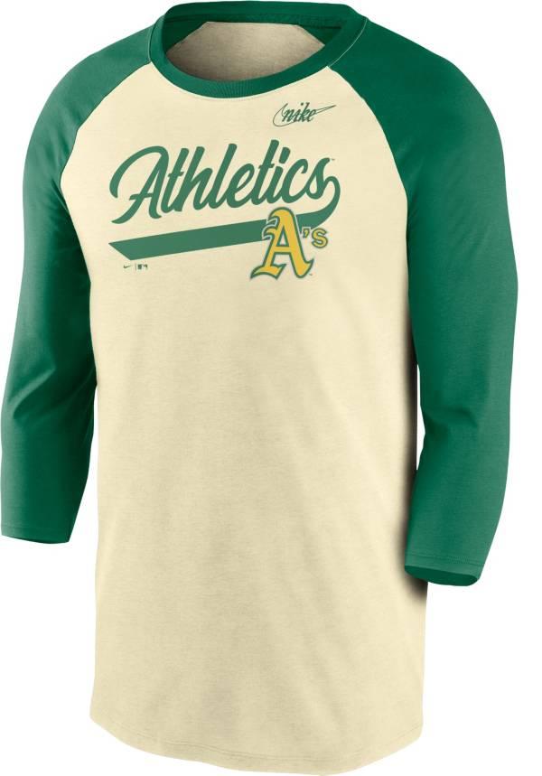 Nike Men's Oakland Athletics Cream Cooperstown Raglan Three-Quarter Sleeve Shirt product image