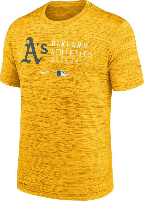 Nike Men's Oakland Athletics Yellow Authentic Collection Velocity Practice T-Shirt product image