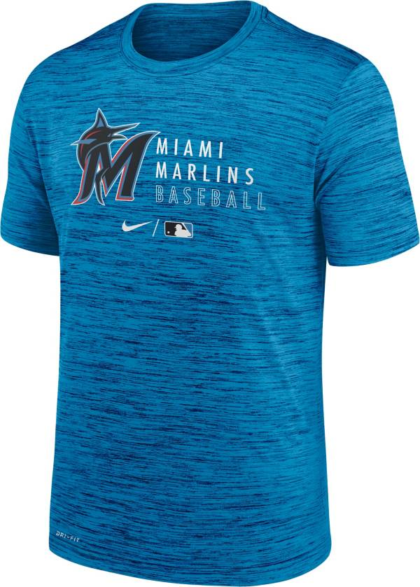 Nike Men's Miami Marlins Blue Authentic Collection Velocity Practice T-Shirt product image