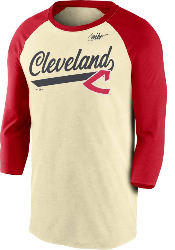Nike Men's Cleveland Indians Cream Cooperstown Raglan Three-Quarter Sleeve Shirt product image