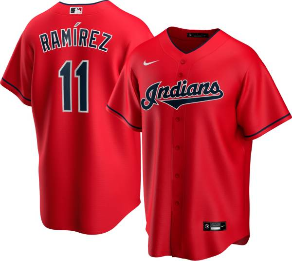 Nike Men's Replica Cleveland Indians Jose Ramirez #11 Cool Base Red Jersey product image