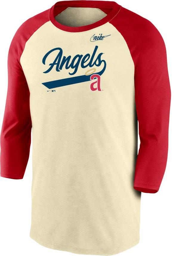 Nike Men's Los Angeles Angels Cream Cooperstown Raglan Three-Quarter Sleeve Shirt product image