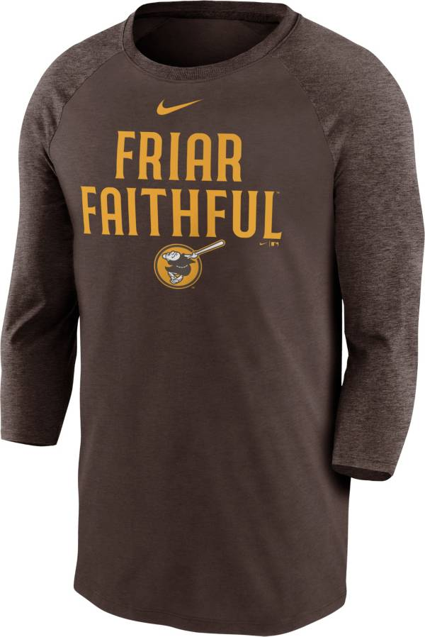 Nike Men's San Diego Padres Yellow Raglan Three-Quarter Sleeve Shirt product image