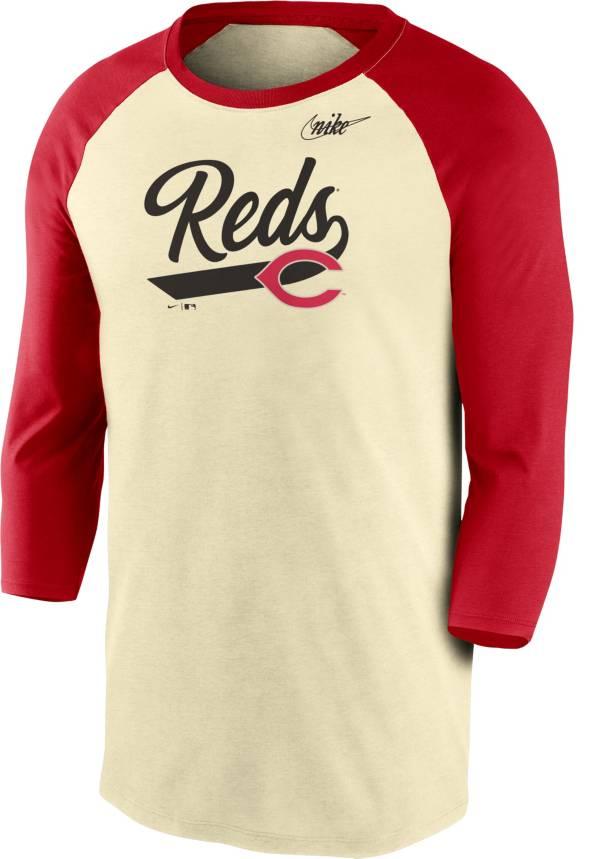 Nike Men's Cincinnati Reds Cream Cooperstown Raglan Three-Quarter Sleeve Shirt product image