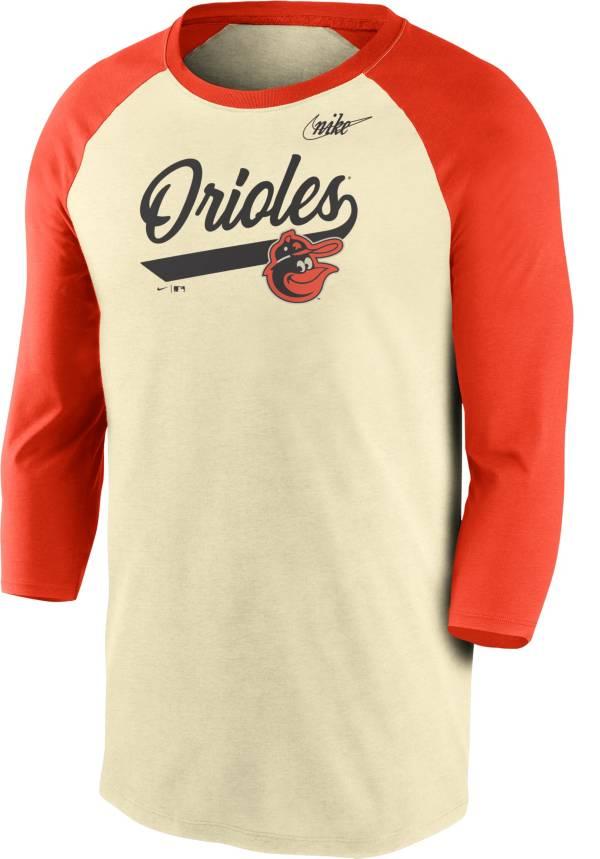 Nike Men's Baltimore Orioles Cream Cooperstown Raglan Three-Quarter Sleeve Shirt product image