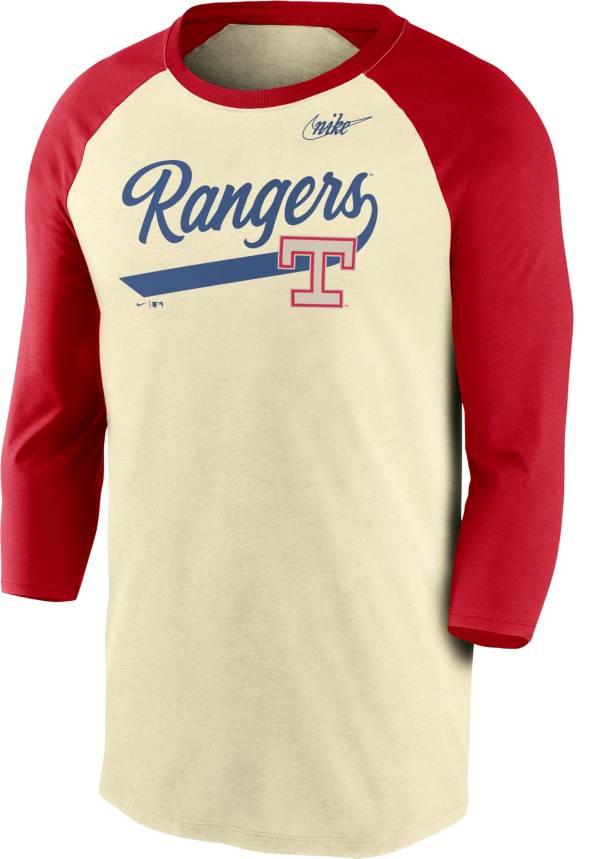 Nike Men's Texas Rangers Cream Cooperstown Raglan Three-Quarter Sleeve Shirt product image