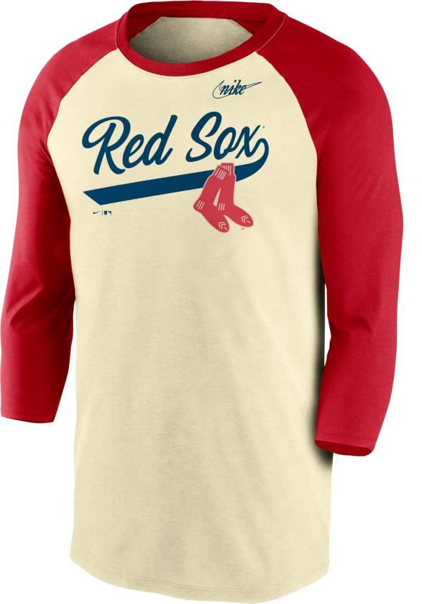 Nike Men's Boston Red Sox Cream Cooperstown Raglan Three-Quarter Sleeve Shirt product image