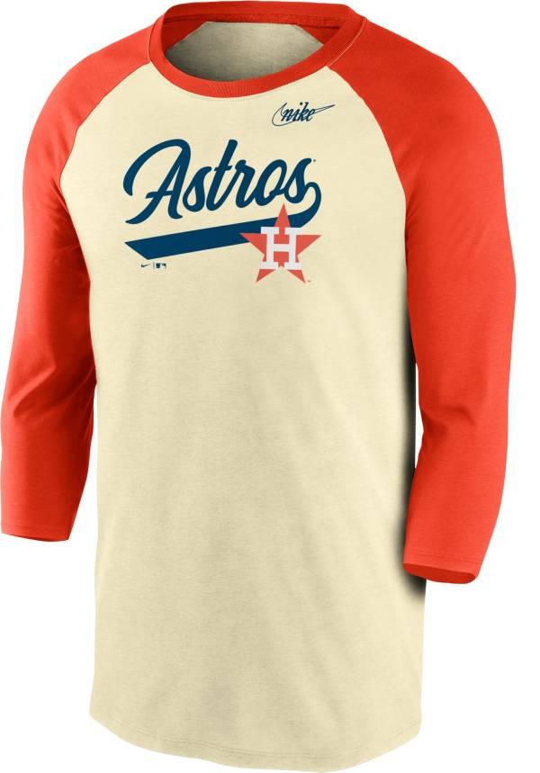 Nike Men's Houston Astros Cream Cooperstown Raglan Three-Quarter Sleeve Shirt product image