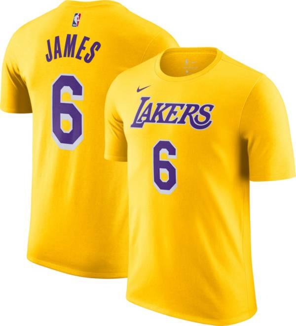 Nike Men's Los Angeles Lakers LeBron James #6 Yellow T-Shirt product image