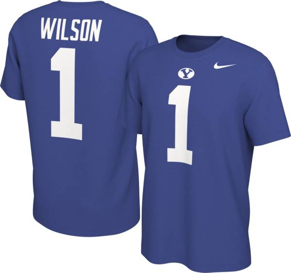 Nike Men's BYU Cougars Zach Wilson #1 Blue Football Jersey T-Shirt product image
