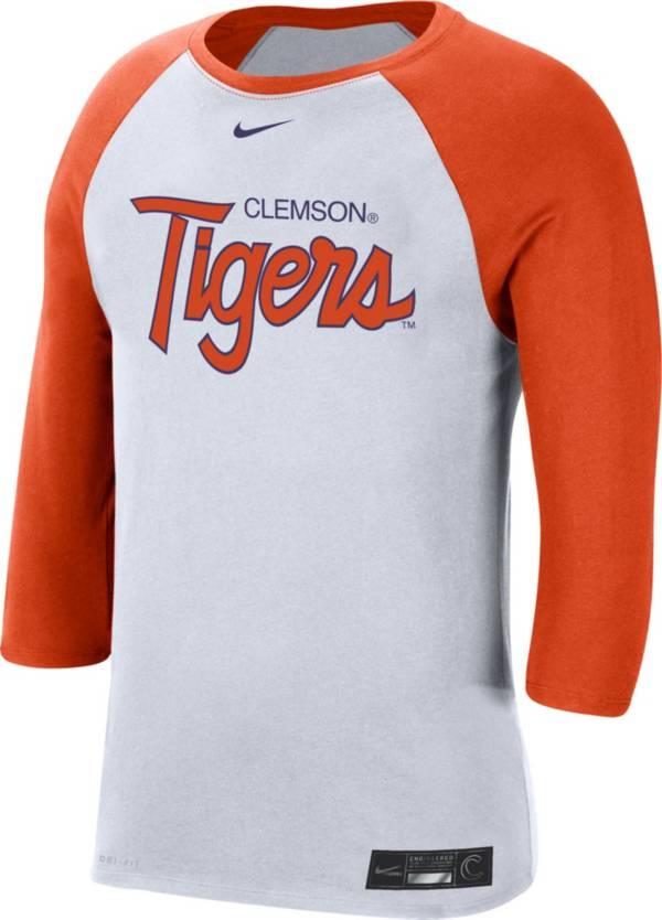 Nike Men's Clemson Tigers White Dri-FIT ¾ Sleeve Baseball T-Shirt product image