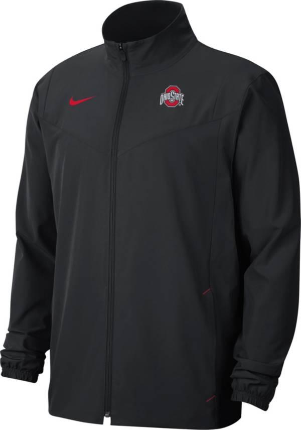 Nike Men's Ohio State Buckeyes Football Sideline Woven Full-Zip Black Jacket product image