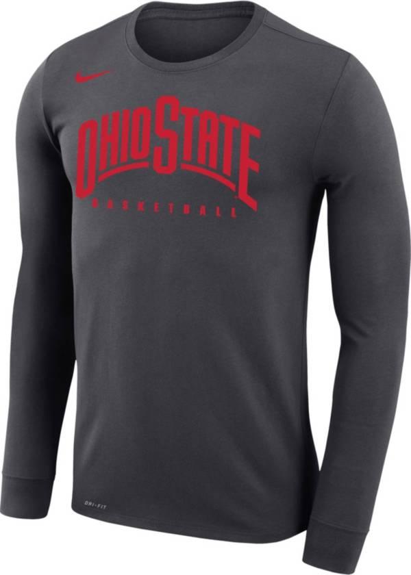 Nike Men's Ohio State Buckeyes Gray Basketball Retro Script Dri-FIT Long Sleeve T-Shirt product image