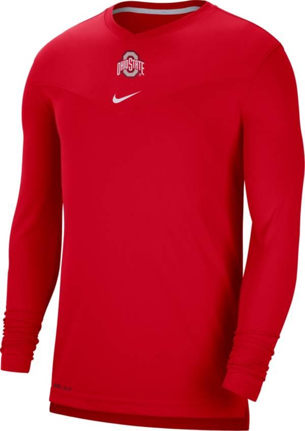 Nike Men's Ohio State Buckeyes Scarlet Football Sideline Coach Dri-FIT UV Long Sleeve T-Shirt product image