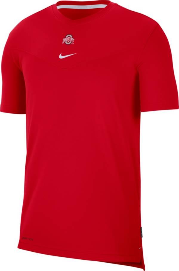 Nike Men's Ohio State Buckeyes Scarlet Football Sideline Coach Dri-FIT UV T-Shirt product image