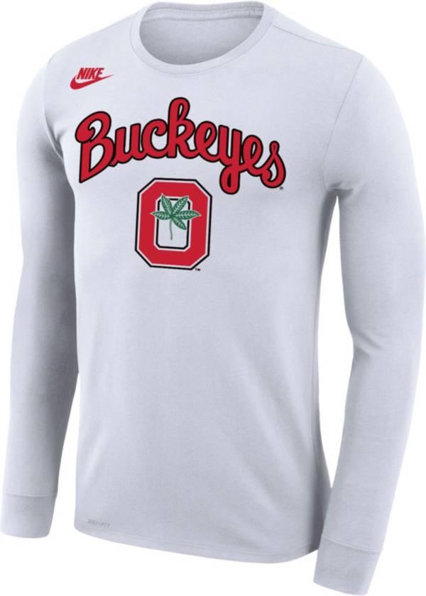 Nike Men's Ohio State Buckeyes Basketball Retro Script Dri-FIT Long Sleeve White T-Shirt product image