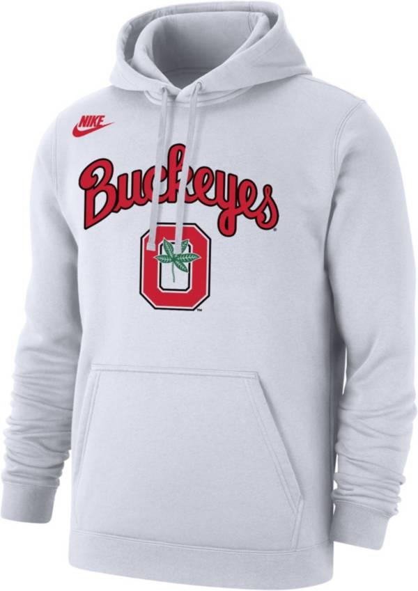 Nike Men's Ohio State Buckeyes Basketball Retro Script Fleece White Hoodie product image