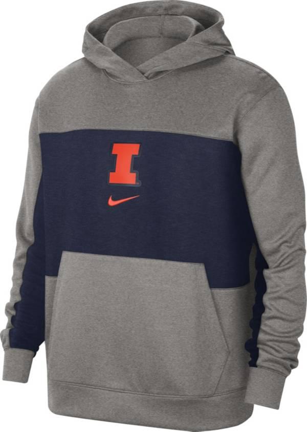 Nike Men's Illinois Fighting Illini Grey Dri-FIT Spotlight Pullover Hoodie product image