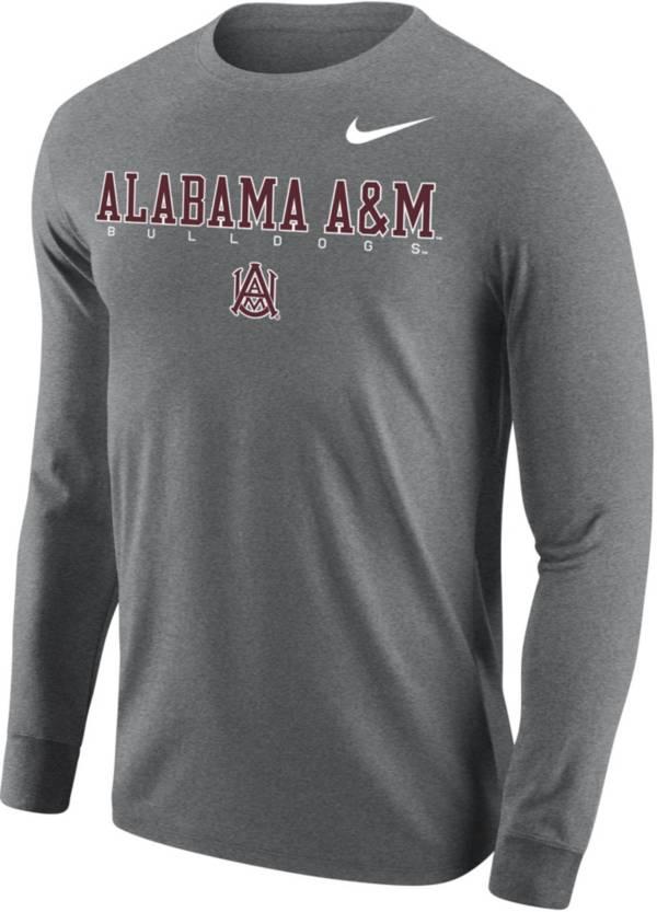 Nike Men's Alabama A&M Bulldogs Grey Core Cotton Graphic Long Sleeve T-Shirt product image
