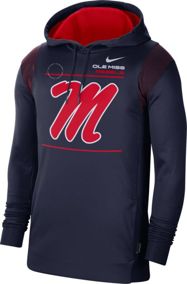 Nike Men's Ole Miss Rebels Blue Therma Performance Pullover Hoodie product image