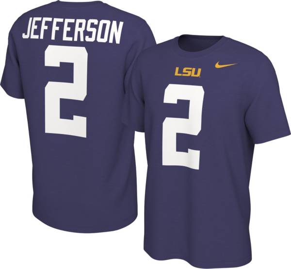 Nike Men's LSU Tigers Justin Jefferson #2 Purple Football Jersey T-Shirt product image