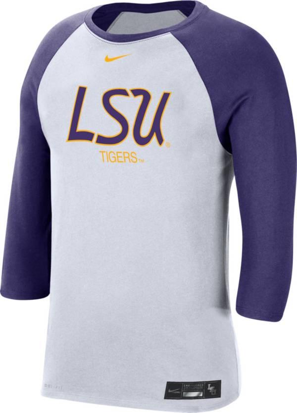 Nike Men's LSU Tigers White Dri-FIT ¾ Sleeve Baseball T-Shirt product image