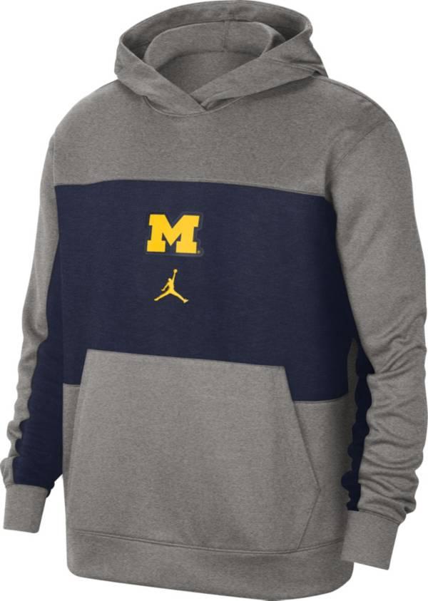 Jordan Men's Michigan Wolverines Grey Dri-FIT Spotlight Pullover Hoodie product image