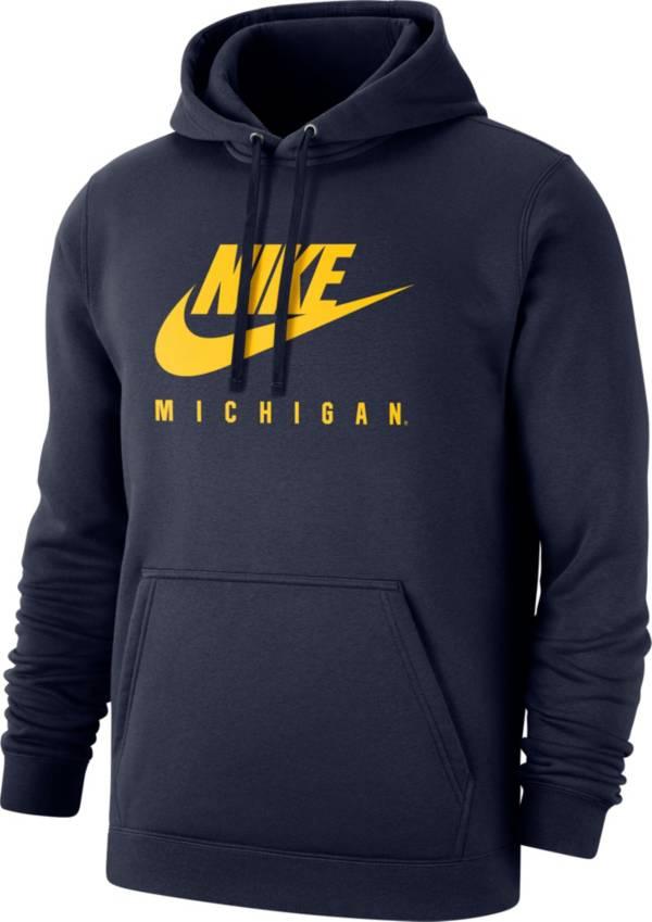 Nike Men's Michigan Wolverines Blue Club Fleece Futura Pullover Hoodie product image