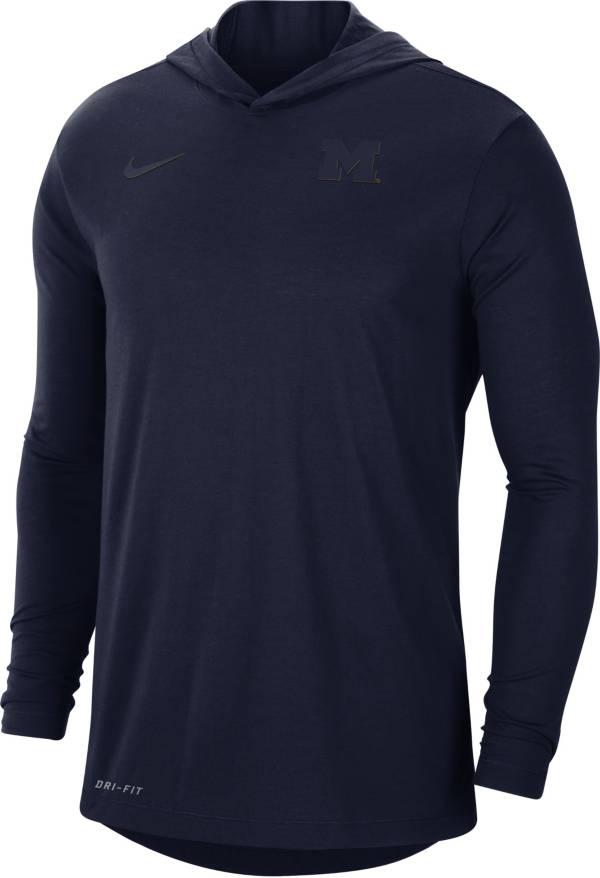Nike Men's Michigan Wolverines Blue Dri-FIT Vapor Pinnacle Long Sleeve Hoodie T-Shirt product image