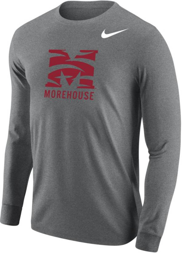 Nike Men's Morehouse College Maroon Tigers Grey Core Cotton Graphic Long Sleeve T-Shirt product image