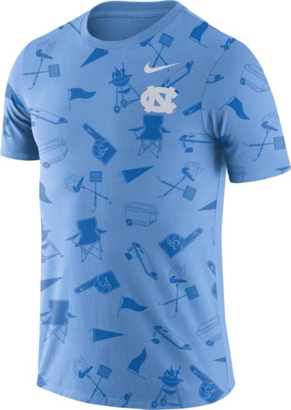 Nike Men's North Carolina Tar Heels Carolina Blue Tailgate Print T-Shirt product image