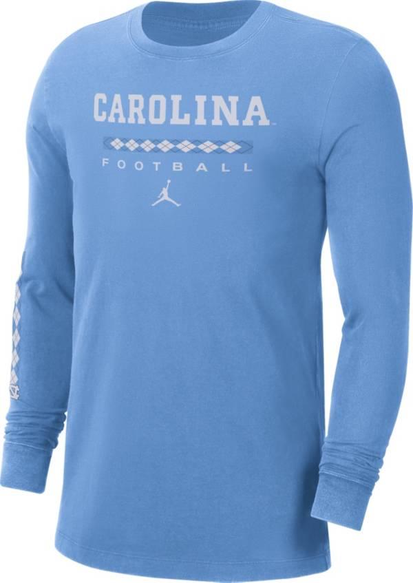 Jordan Men's North Carolina Tar Heels Carolina Blue Football Wordmark Long Sleeve T-Shirt product image