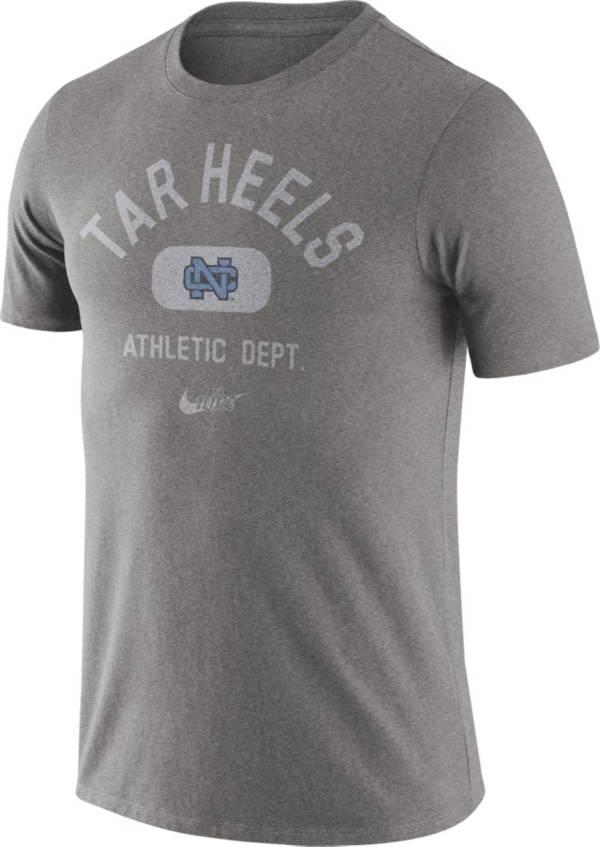 Nike Men's North Carolina Tar Heels Grey Tri-Blend Old School Arch T-Shirt product image