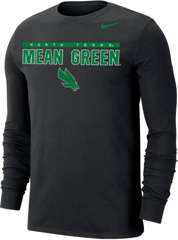Nike Men's North Texas Mean Green Dri-FIT Cotton Long Sleeve Black T-Shirt product image