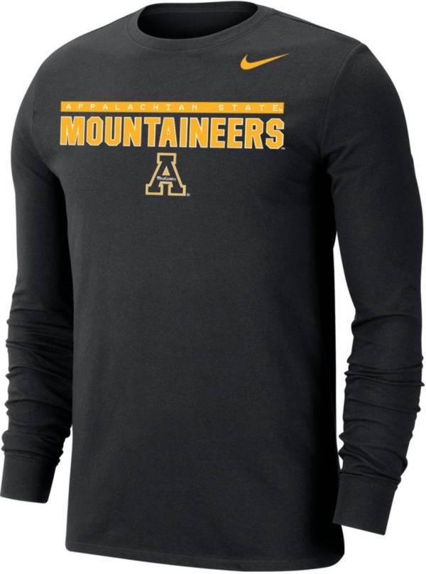 Nike Men's Appalachian State Mountaineers Dri-FIT Cotton Long Sleeve Black T-Shirt product image