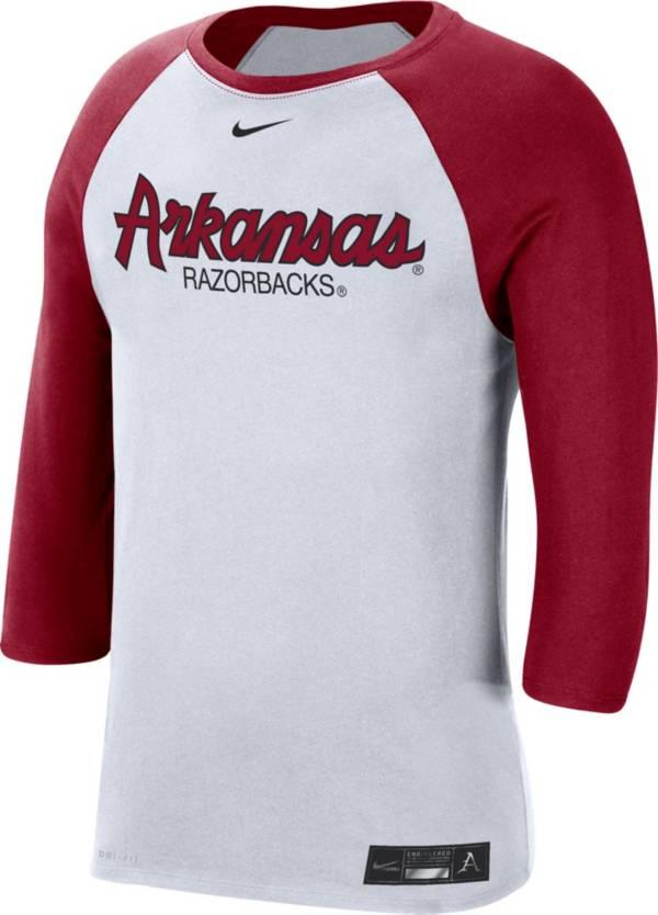 Nike Men's Arkansas Razorbacks White Dri-FIT ¾ Sleeve Baseball T-Shirt product image