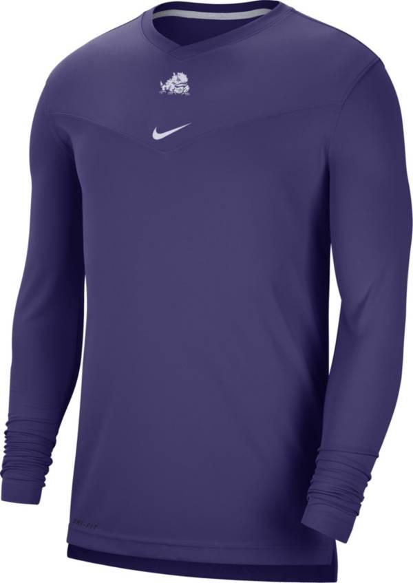 Nike Men's TCU Horned Frogs Purple Football Sideline Coach Dri-FIT UV Long Sleeve T-Shirt product image