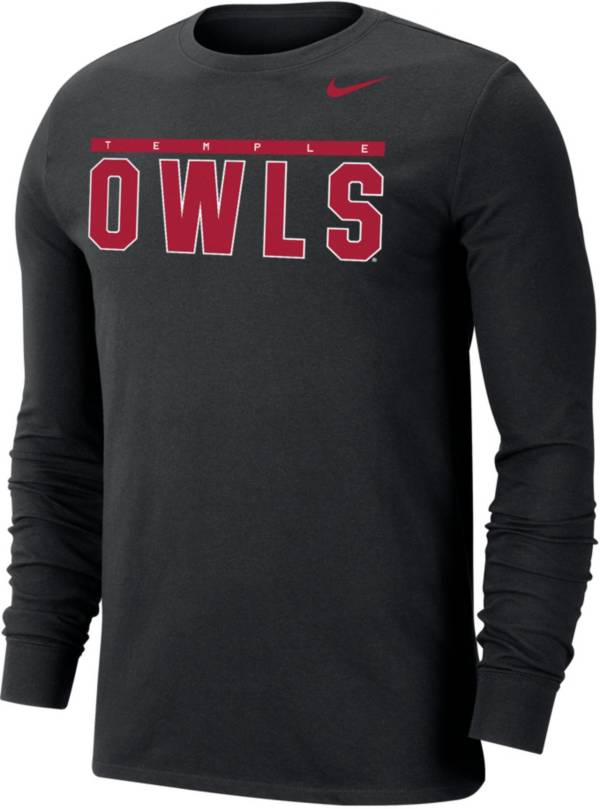 Nike Men's Temple Owls Dri-FIT Cotton Long Sleeve Black T-Shirt product image
