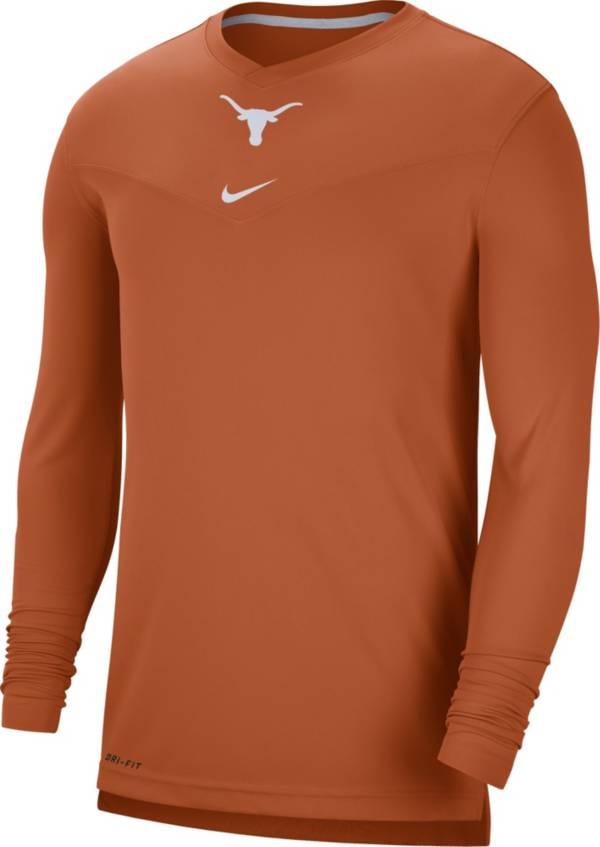Nike Men's Texas Longhorns Burnt Orange Football Sideline Coach Dri-FIT UV Long Sleeve T-Shirt product image