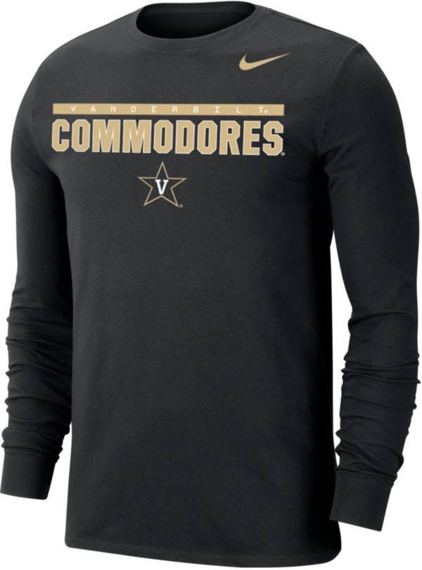 Nike Men's Vanderbilt Commodores Dri-FIT Cotton Long Sleeve Black T-Shirt product image