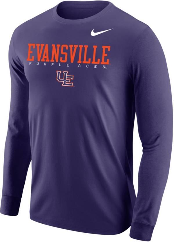 Nike Men's Evansville Purple Aces Purple Core Cotton Graphic Long Sleeve T-Shirt product image