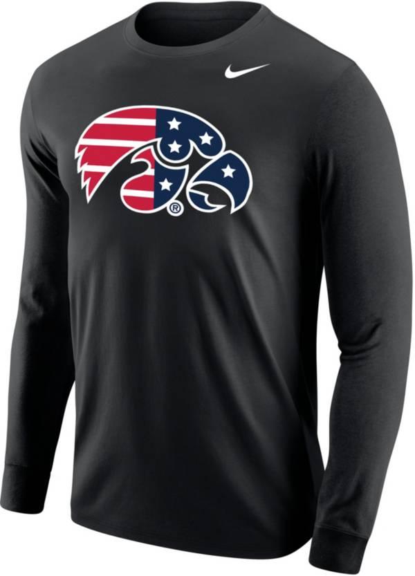 Nike Men's Iowa Hawkeyes Patriotic Core Cotton Long Sleeve Black T-Shirt product image