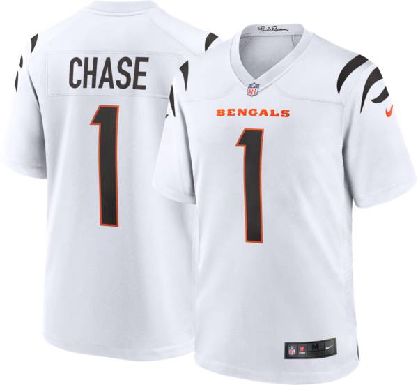 Nike Men's Cincinnati Bengals Ja'Marr Chase #1 White Game Jersey product image
