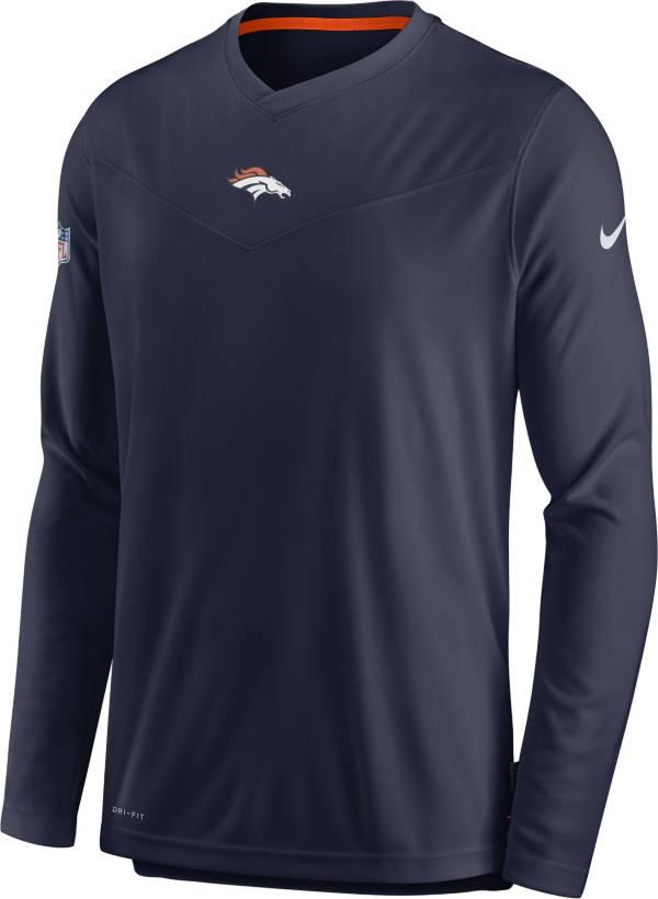 Nike Men's Denver Broncos Sideline Coaches Navy Long Sleeve T-Shirt product image