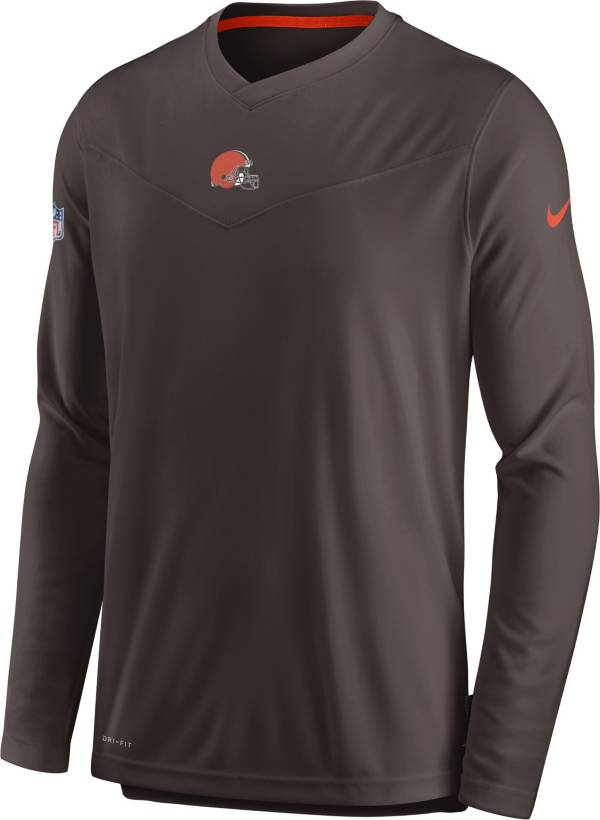 Nike Men's Cleveland Browns Sideline Coaches Brown Long Sleeve T-Shirt product image