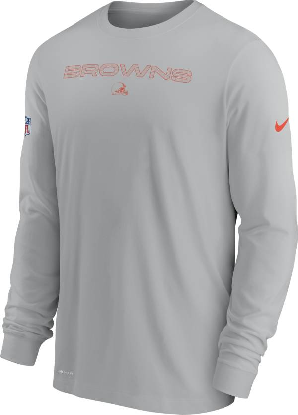 Nike Men's Cleveland Browns Sideline Team Issue Silver Long Sleeve T-Shirt product image
