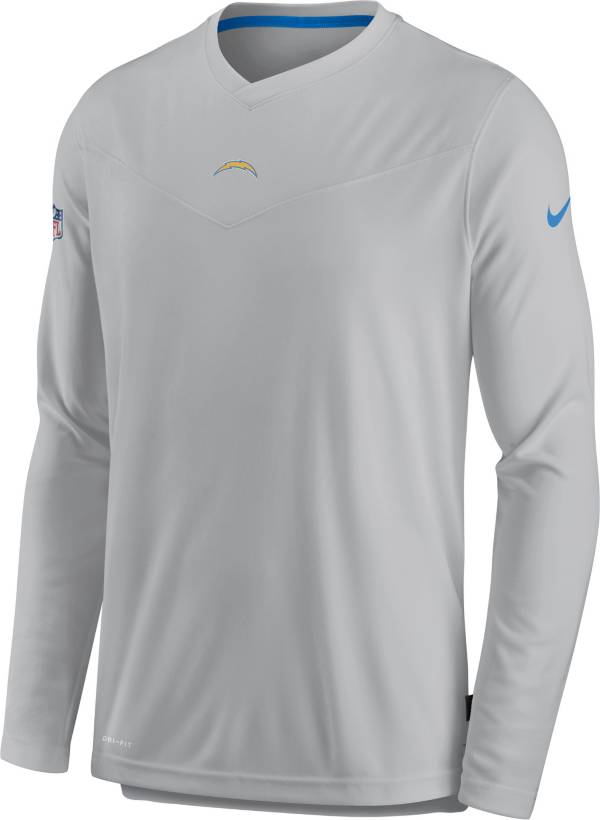 Nike Men's Los Angeles Chargers Sideline Coaches Silver Long Sleeve T-Shirt product image